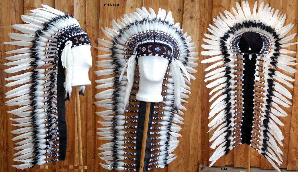dbbe615765f Indiánská čelenka Black and White 100 cm
